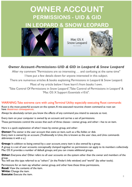 Owner Account-Permissions-UID & GID in Leopard & Snow Leopard