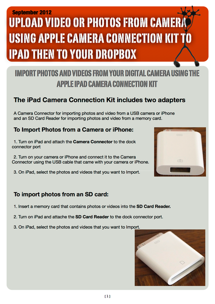 Upload Videos or Photos from Camera using Apple Camera Connection Kit to iPad then to Dropbox